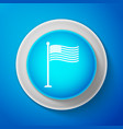 White national flag of usa on flagpole icon