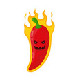 burn hot angry evil chili pepper in fire vector image