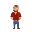 Cartoon hipster character with beard vector image