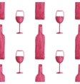 Seamless watercolor pattern with wine bottles and vector image