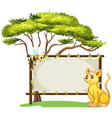 A young tiger and a bee beside an empty space vector image vector image