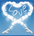 air show heart loop with plane and clouds on blue vector image