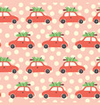 attern with red car and christmas tree on the roof vector image