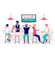 beer pub visitors watching soccer match on tv vector image vector image