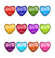 big set with cartoon different heart vector image vector image