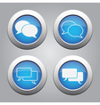 blue chrome buttons set-white speech bubbles icons vector image vector image