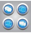 blue chrome buttons set-white speech bubbles icons vector image
