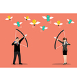 Business man and woman try to shoot the money fly vector image