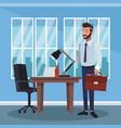 businessman working cartoon vector image vector image
