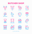 butcher shop thin line icons set vector image vector image