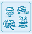 car repair station in line icon set vector image