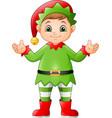 cartoon happy christmas elf vector image