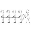 cartoon of line of slaves walking in chains vector image