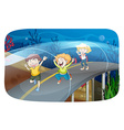 Children running in the tunnel vector image vector image