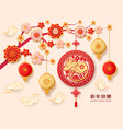 chinese new year holiday lanterns papercut design vector image