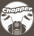 chopper moto handlebar with rear-view mirrors vector image vector image