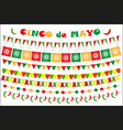 cinco de mayo celebration set of colored flags vector image vector image