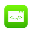 code window icon digital green vector image vector image
