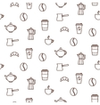 Coffee house line icons seamless pattern vector image