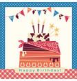 cowboy party card with happy birthday big cake vector image vector image