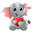 cute elephant cartoon hugging a heart vector image
