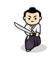 cute samurai vector image vector image