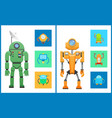 cyber creatures robots set vector image vector image