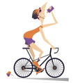cyclist rides a bike and drinks water isolated ill vector image