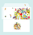 Design of envelope with floral tree vector image
