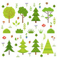 different forest plants trees mushrooms and other vector image