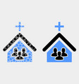 dotted and flat church people icon vector image vector image