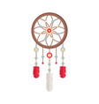 dreamcatcher with gemstones and feathers ethnic vector image