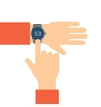 Finger touches the display smart watch vector image vector image