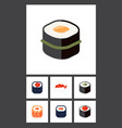 flat icon sashimi set of oriental eating maki vector image vector image