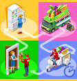 food truck fruit cart home delivery isometric vector image vector image