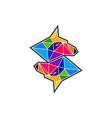 fox with polygon logo template vector image vector image