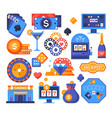 gaming object - set flat design style elements vector image
