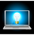 Glowing blue light bulb on laptop screen vector image vector image