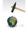 Hammer threatening planet earth isolated vector image