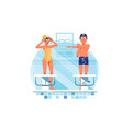 happy woman and man coaches and swimmers have warm vector image vector image