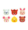 heads of cute animals set bear face of bear vector image