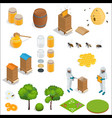 honey and beekeeping isometric design elements vector image