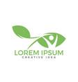human leaf logo design vector image vector image