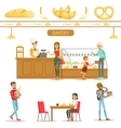 Interior Design And Happy Clients Of A Bakery Set vector image