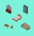 isometric furnishing set of chair couch vector image vector image