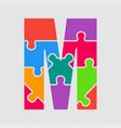 jigsaw color shape puzzle piece letter - m vector image vector image