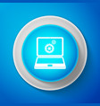 laptop and gears icon isolated on blue background vector image vector image