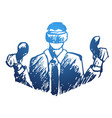 man wearing vr goggles vector image