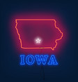 neon map state of iowa on dark background vector image vector image