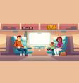 people in train passengers travel railway car vector image vector image